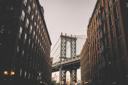 Brooklyn Bridge in Brooklyn, New York, United States.