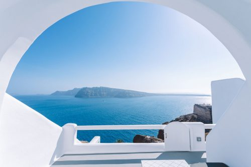 Stay at luxury charisma suites in Santorini island in the Greek Islands.